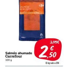Oferta de Salmón ahumado carrefour por 2,5€