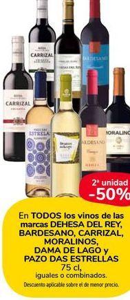 Oferta de En TODOS los vinos de las marcas DEHESA DEL REY, BARDESANO, CARRIZAL, MORALINOS, DAMA DE LAGO y PAZO DAS ESTRELLAS 75cl, iguales o combinados por