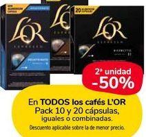 Oferta de Em TODOS los cafés l'or Pack 10 y 20 capsulas iguales o combinadas por