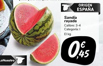 Oferta de Sandía rayada por 0,45€