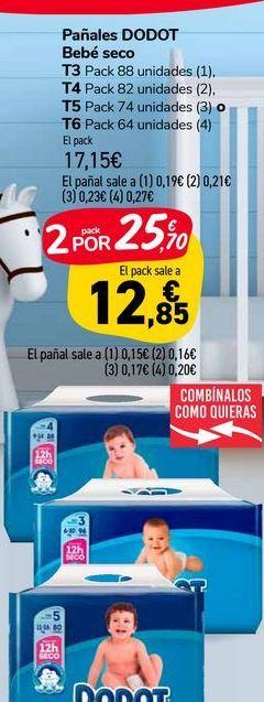 Oferta de Pañales Dodot Bebe seco por 17,15€