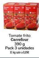 Oferta de Tomate frito carrefour 390g Pack 3 unidades por 0,99€