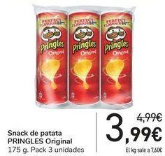 Oferta de Snack de patata PRINGLES Original por 3,99€