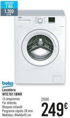 Oferta de Beko Lavadora WTE7611BWR  por 249€