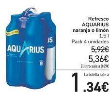 Oferta de Refresco AQUARIUS naranja o limón  por 5,36€