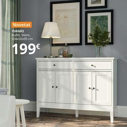 Oferta de Aparador  blanco 124 x 50 x 95 cm IDANAS por 199€