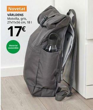 Oferta de Mochila gris 27 x 11 x 56 cm, 18 l VARLDENS por 17€