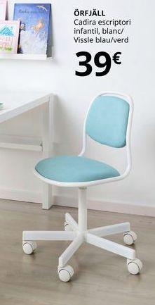 Oferta de Silla de estudio infantil, blanca/vissle azul/verde ORFJALL por 39€