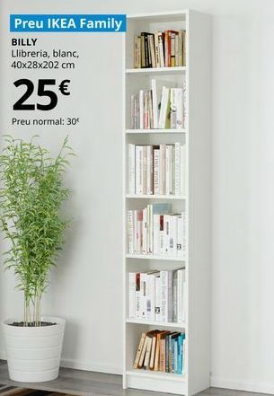 Oferta de Biblioteca blanca  Billy, 40 x 28 x 202 cm por 25€