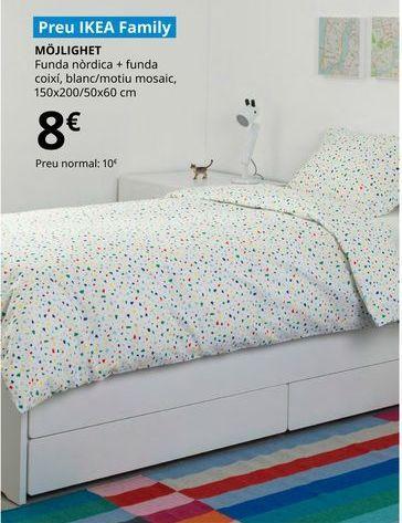 Oferta de Funda nórdica + 2 fundas de almohada blanca/motivo mosaico, 150 x 200/50 x 60 cm MOJLIGHET por 8€