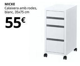 Oferta de Cajonera con ruedas, blanca, 35 x 75 cm MICKE por 55€