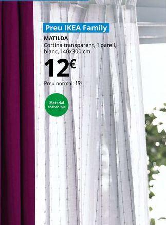Oferta de Cortina trasnparente, 1 par, blanca, 140 x 300 cm por 12€