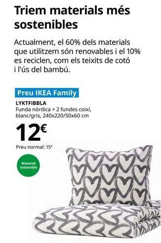 Oferta de Funda nórdica + 2 fundas de almohada blanca/gris, 240 x 220/50 x 60 cm LYKTFIBBLA por 12€