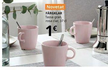 Oferta de Taza grande rosa claro, 37 cl FARGKLAR por 1€
