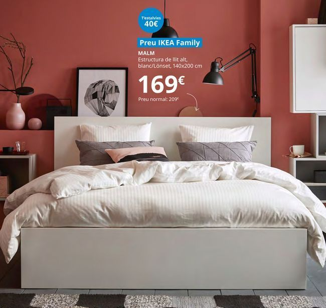 Oferta de Estructura cama alta , blanco/lonset 140 x 200 cm Malm por 169€