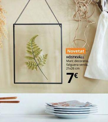 Oferta de Marco decorativo helecho verde- 21 x 26 cm HOSTKVALL por 7€