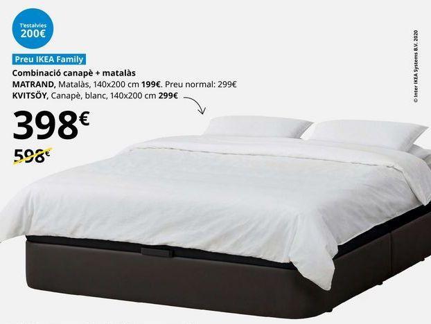 Oferta de Combinación canapé + colchón  por 398€