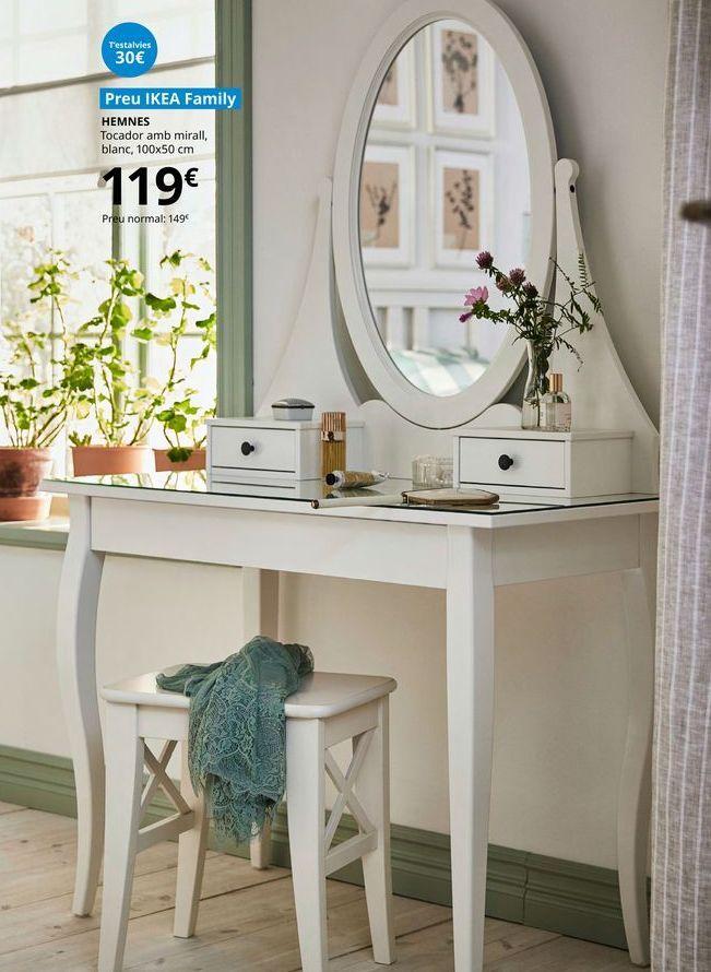 Oferta de Tocador con espejo Hemnes 100 x 50 cm por 119€