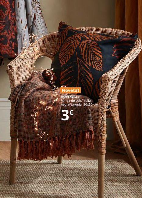 Oferta de Funda de almohada hoja, negra/naranja 50 x 50 cm HOSTKVALL por 3€