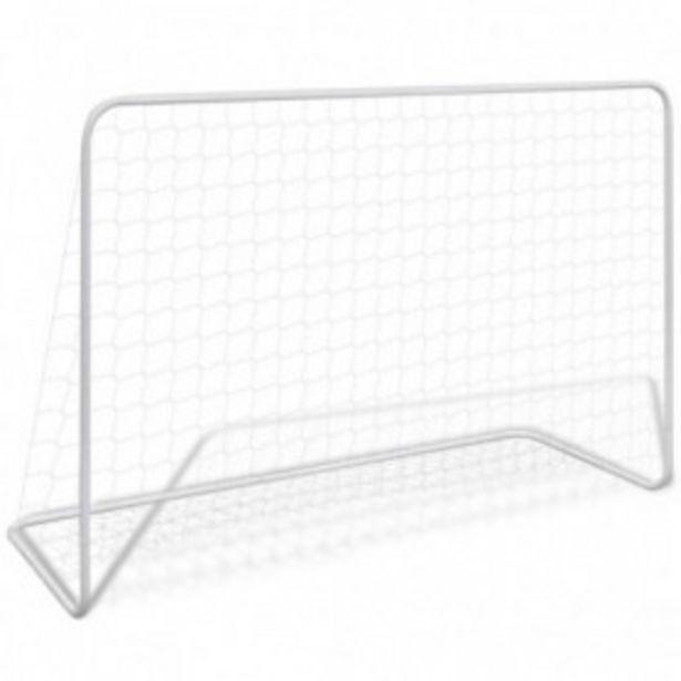 Oferta de Portería de fútbol con red 182x61x122 cm acero blanco por 25,44€