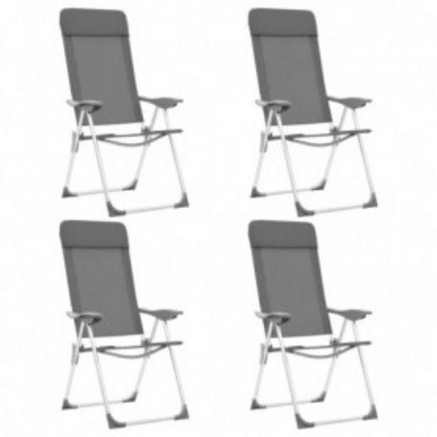 Oferta de Sillas de camping plegables 4 unidades aluminio gris por 158,32€