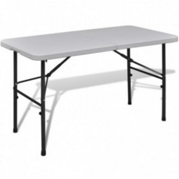 Oferta de Mesa de jardín plegable 122 cm HDPE blanco por 65,96€