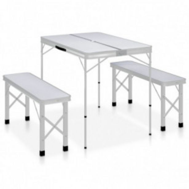 Oferta de Mesa de camping plegable con 2 bancos aluminio blanco por 68,79€