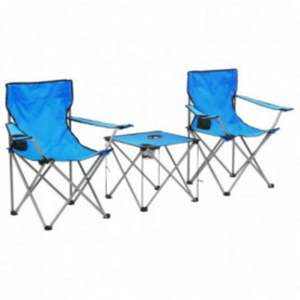 Oferta de Conjunto de mesa y sillas de camping 3 piezas azul por 49€
