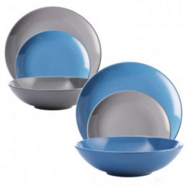 Oferta de Set de 36 piezas Vajilla Loza Azul/gris Casa Benetton por 95,99€