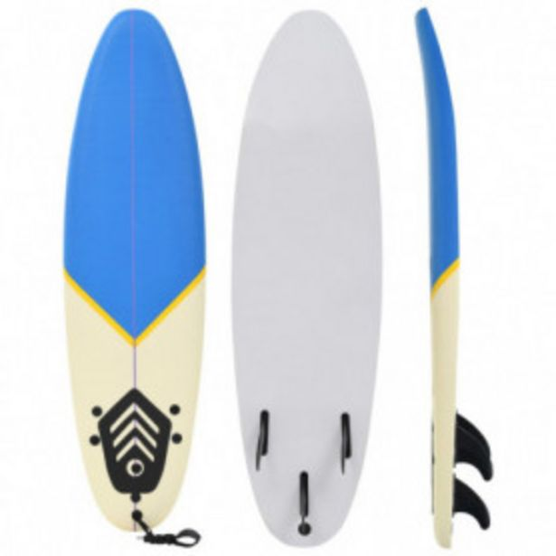 Oferta de Tabla de surf 170 cm azul y crema por 108,38€