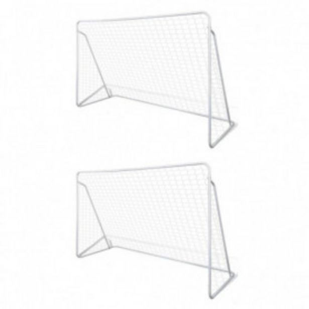 Oferta de Porterías de fútbol de acero 2 unidades 240x90x150 cm por 71,62€