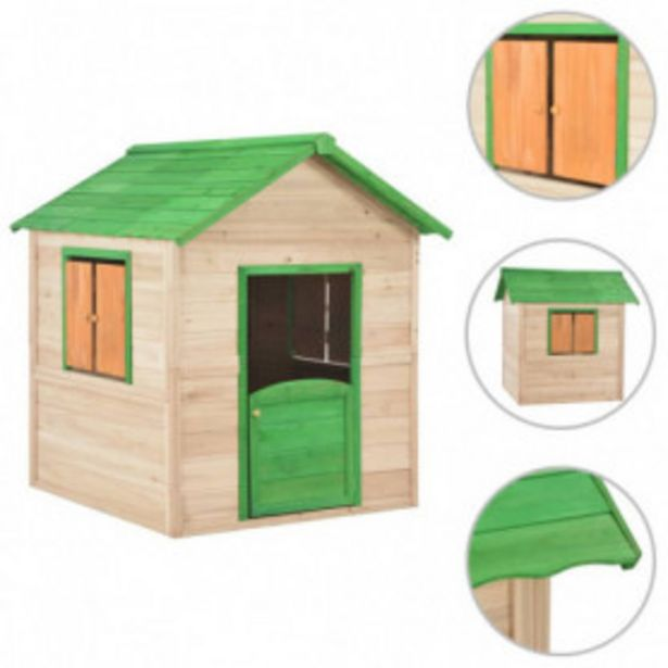 Oferta de Casa de juegos de niños de madera verde por 268,6€