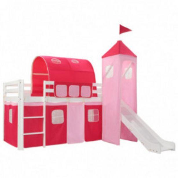 Oferta de Cama alta para niños tobogán y escalera madera pino 208x230 cm por 368,5€