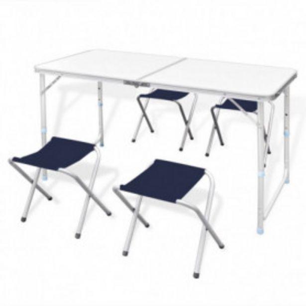 Oferta de Mesa de camping plegable ajustable con 4 taburetes 120x60 cm por 53,72€