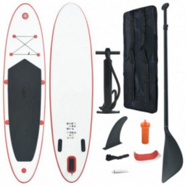 Oferta de Set de paddel surf tabla SUP inflable rojo y blanco por 205,45€