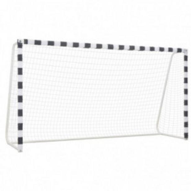 Oferta de Portería de fútbol de metal blanco y negro 300x160x90 cm por 140,42€