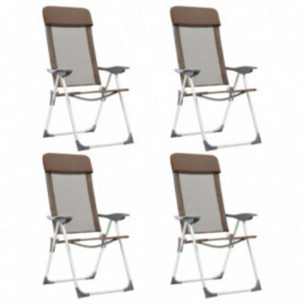 Oferta de Sillas de camping plegables 4 unidades aluminio marrón por 158,32€