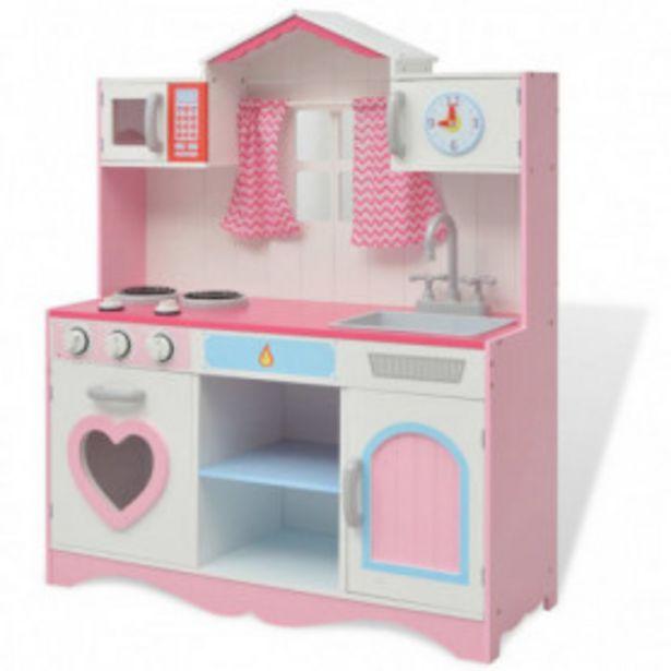 Oferta de Cocinita de juguete de madera rosa y blanca 82x30x100 cm por 114,03€