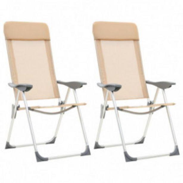 Oferta de Sillas de camping plegables 2 unidades aluminio crema por 81,99€