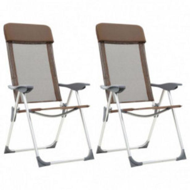 Oferta de Sillas de camping plegables 2 unidades aluminio marrón por 84,82€