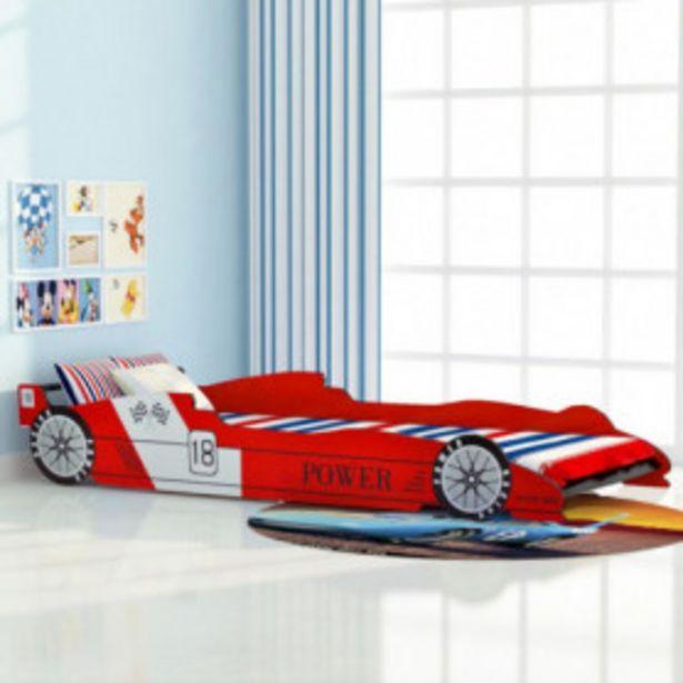 Oferta de Cama con forma de coche de carreras para niños roja 90x200 cm por 126,29€