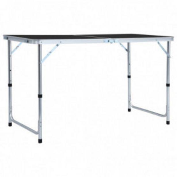 Oferta de Mesa de camping plegable de aluminio gris 120x60 cm por 42,4€