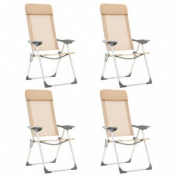 Oferta de Sillas de camping plegables 4 unidades aluminio crema por 153,62€