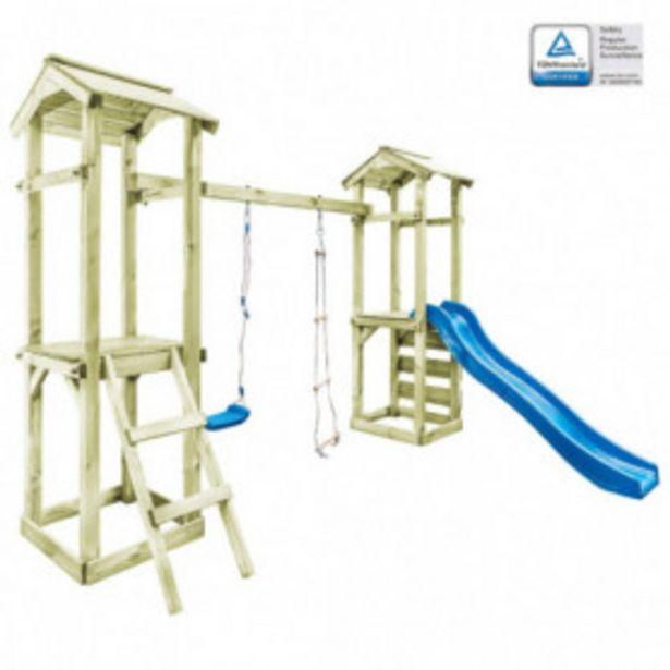 Oferta de Parque infantil con escalera, tobogán y columpio de madera por 405,26€