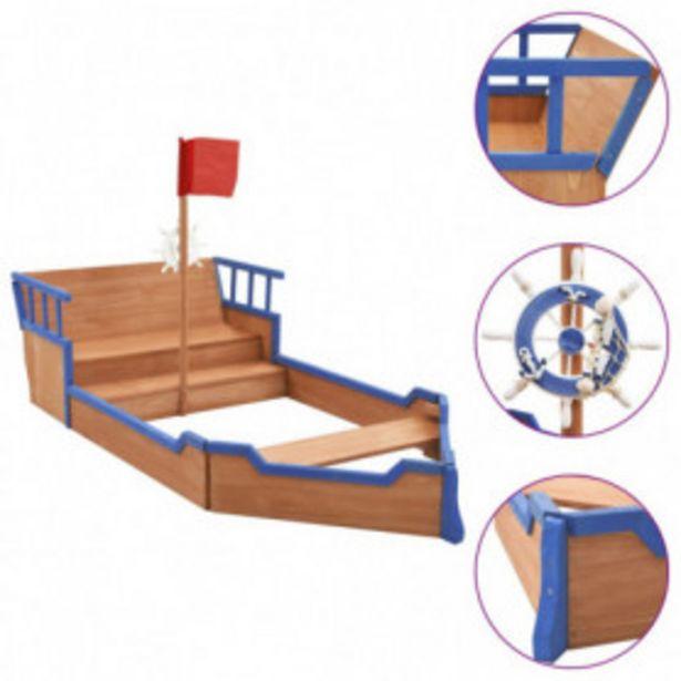 Oferta de Arenero en forma de barco pirata madera de abeto 190x94,5x136cm por 161,16€