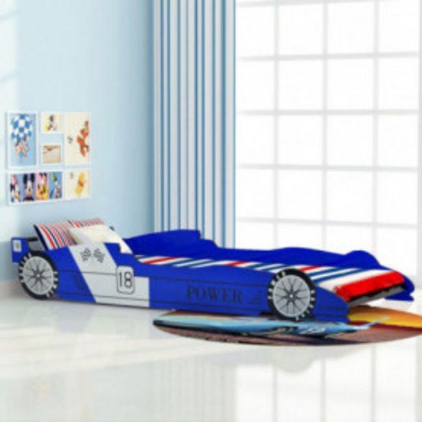 Oferta de Cama con forma de coche de carreras para niños azul 90x200 cm por 129,11€