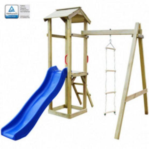 Oferta de Parque infantil con tobogán y escaleras de madera por 289,34€