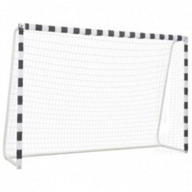 Oferta de Portería de fútbol de metal blanco y negro 300x200x90 cm por 166,81€