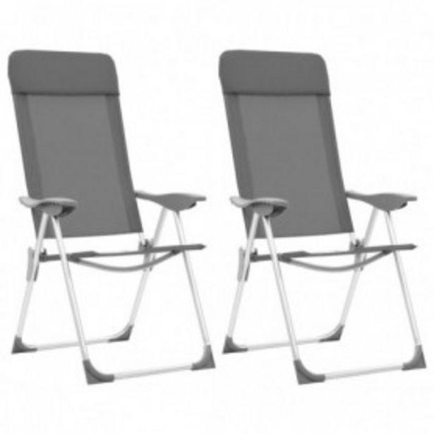 Oferta de Sillas de camping plegables 2 unidades aluminio gris por 84,82€