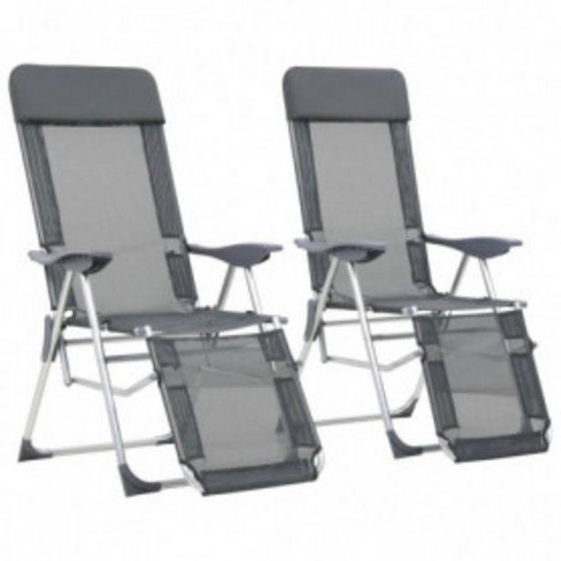 Oferta de Sillas de camping plegables con reposapiés 2 uds aluminio gris por 109,32€